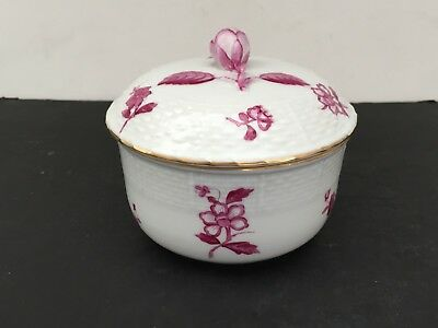 Raspberry Flower Bouquet Early HEREND Porcelain COVERED Sugar Bowl Rose Finial