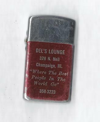 Vintage Park Lighter, Advertising Del's Lounge, Champaign Ill, Made in USA, Work