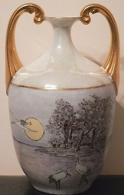 OLD antique Arts and & Crafts Hand Painted Porcelain Vase Artist Signed c.1920s