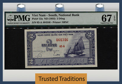 TT PK 12a ND (1955) VIETNAM -- SOUTH 2 DONG PMG 67 EPQ SUPERB GEM UNCIRCULATED!