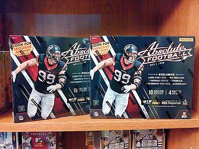 Lot of TWO (2) 2016 Panini ABSOLUTE FOOTBALL Box 1 Rook Ink RED AUTO & 1 Relic