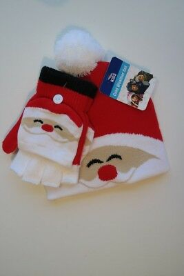 NEW NWT Kids Santa Claus Face Hat and Gloves/Mittens Set Red & White Youth O/S