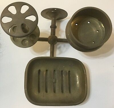 Vintage BRASS Triple Wall-Mount: Soap, Cup & Toothbrush Holder BATH SET