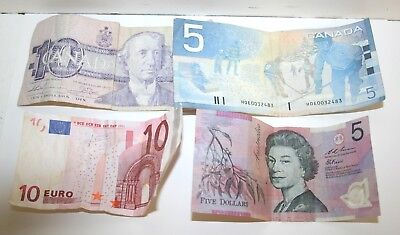 Foreign Currency Cash Bank Notes Euros/ Canadian Dollars/ Australia Dollars