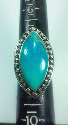 Signed Sx Sterling Silver And Turquoise Stone Statement Ring Sz 8.25