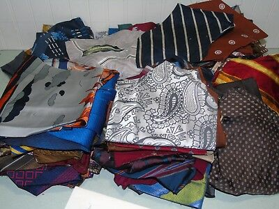 150 VINTAGE 1940's - 1970's NECKTIE LOT PREPPED FOR QUILT CRAFTS ART WIDE TIES