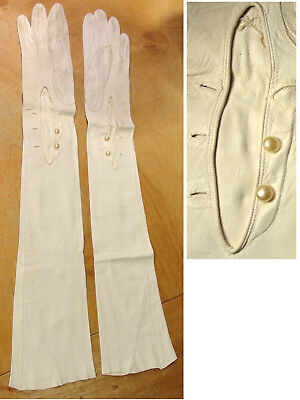 """Vintage 23"""" White Kid Leather Classic Opera Gloves Faux Pearl Button Wrist"""
