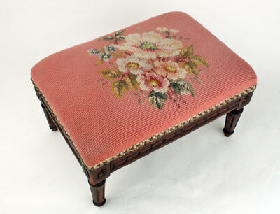 Antique French Louis XVI Pink Flowers Needlepoint Walnut Footstool France 1910