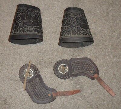 Vintage Wyeth Embosed Leather Cowboy Cuffs Marked and other Saddlery