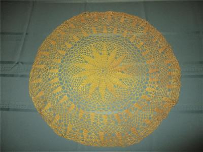 """Vintage Hand Crocheted Round 21"""" Large Yellow Doily / Doilie"""