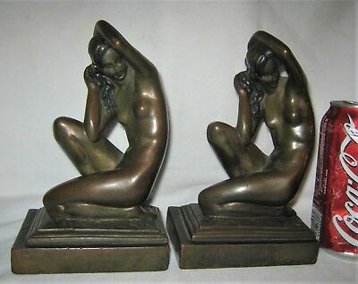 Antique Bronze Clad Usa Nude Lady Bust Art Deco Statue Sculpture Book Bookends