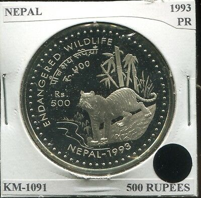 1993 Nepal 500 Rupees Proof, KM-1091 Tiger