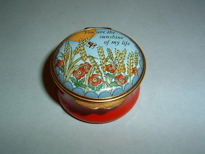 """Halcyon Days England Round Enamel Box """"You Are The Sunshine of My Life"""" Mint"""