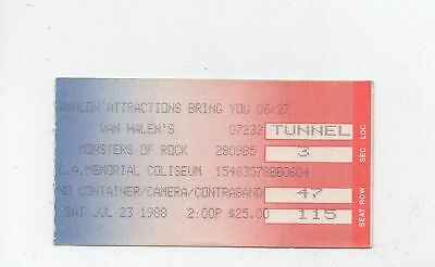 VAN HALEN MONSTERS of ROCK 7/23/88 1988 LA MEMORIAL COLISEUM CONCERT TICKET STUB
