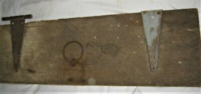 Antique Country Primitive Wrought Iron Wood Plank Board Door Rustic Home Bench