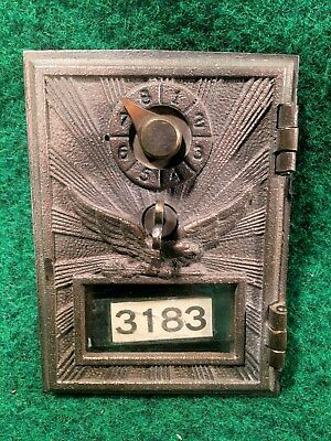 Vintage Brass Eagle Lock US Post Office Box Door & Frame Clean & Looks Great #A
