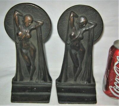 Antique Usa Key Hole Nude Chic Art Deco Lady Bust Statue Cast Iron Bookends Book