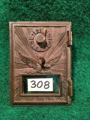 Vintage Brass Eagle Lock US Post Office Box Door & Frame Clean & Looks Great #B