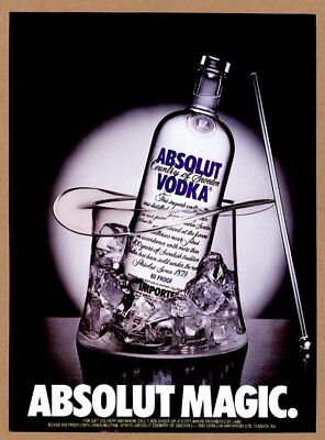 1987 Absolut Magic vodka bottle in clear magician hat photo vintage print ad