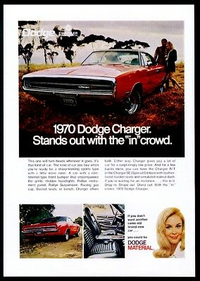 1970 Dodge Charger 500 red car 3 photo vintage print ad