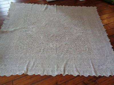 Vintage Quaker Lace Tablecloth Cherubs Floral 60 X 74