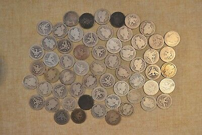 Lot Of 1905-P Barber Quarters - Circulated With Problems - 60 Coins
