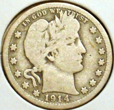 Barber Quarter - 1914 - Historic Silver! - $1 Unlimited Shipping.