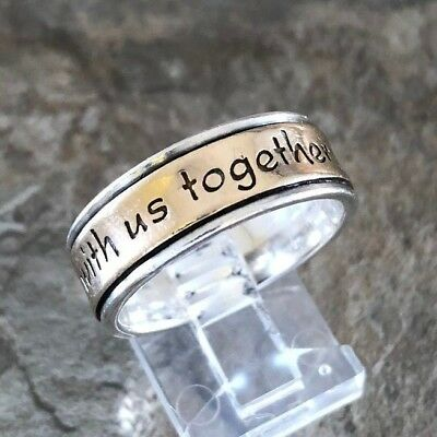 Retired James Avery God Be With Us Ring Sz 9.5 14K Gold Sterling Silver