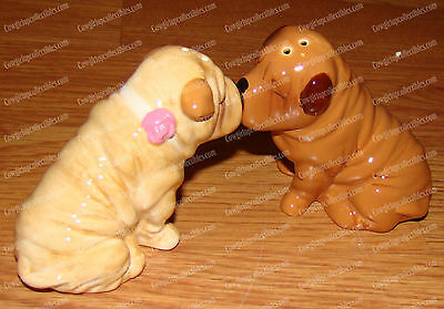 SHAR PEI Salt & Pepper Shakers (MWAH by Westland, 93938) Magnetic, Ceramic