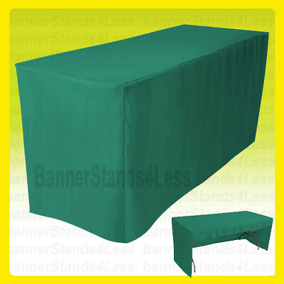 6' Fitted Tablecloth Table Cover Trade Show Event Open Back - 3 SIDED GREEN