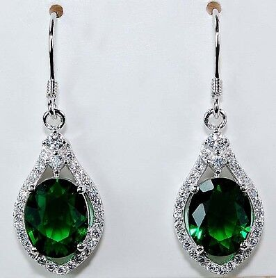 5CT Emerald Quartz & White Topaz 925 Solid Sterling Silver Earrings Jewelry