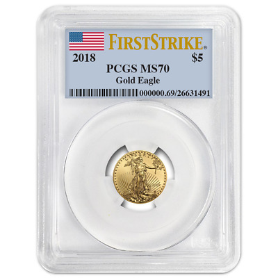 2018 $5 American Gold Eagle 1/10 oz. PCGS MS70 First Strike Label