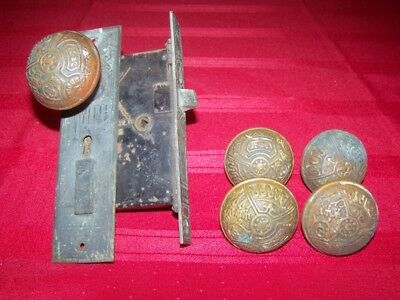 6 Matching Antique Eastlake Victorian Brass Door Knobs 1 Complete Assembly