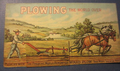 Old 1880's WIARD PLOW Co. - Agricultural - Victorian TRADE CARD - Batavia N.Y.