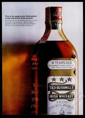 1963 Old Bushmills Irish Whiskey bottle color photo vintage print ad