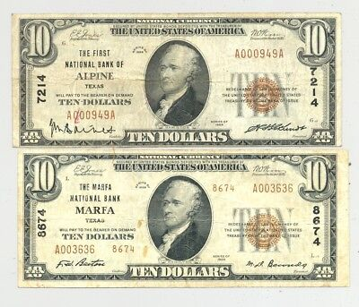 Alpine and Marfa, Texas Series 1929 National Banknotes from the Trans-Pecos