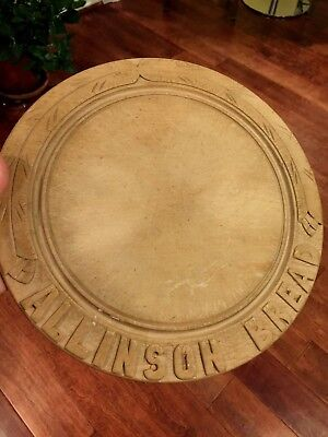 Antique English Bread Board 19th Century Hand Carved Allison Bread Ad Victorian
