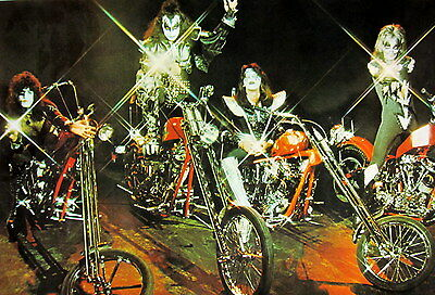 """KISS """"GROUP SITTING ON CHOPPER MOTORCYCLES"""" POSTER FROM ASIA -Classic Rock Music"""