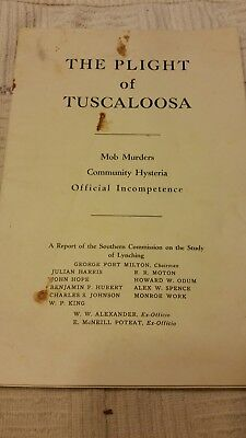 """Original Pamphlet """"The Plight of Tuscaloosa"""" report commission on lynching 1933"""