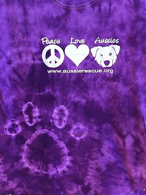 Aussie Rescue - Peace Love Aussie short sleeved purple tie dye t-shirt