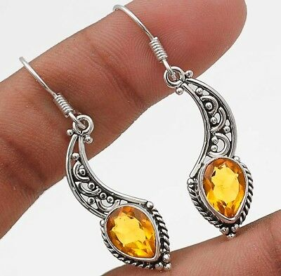 "3CT Golden Citrine 925 Solid Sterling Silver Earrings Jewelry 1 2/3"" Long"