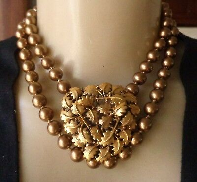Monet Knotted Gold Toned Faux Pearl Vintage Necklace & Tortolani Brooch Lot