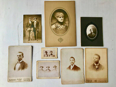 8 19th & Early 20th Century AFRICAN AMERICAN Cabinet Cards, RPPC's,