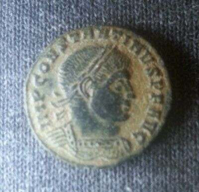 Constantine High Grade Quality Desert Patina Ancient Coin Sol Stands Left Globe