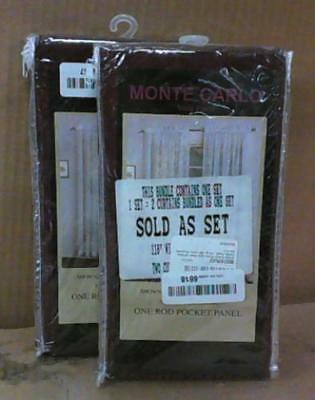 "NEW United Curtain Monte Carlo Sheer Window Curtain Panel, 118x120"" Burgundy"