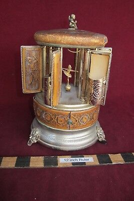 Reuge Carousel Cigarette Lipstick Holder Music Box Swiss (W/ issues)