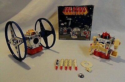 "Look! Two Early 1970`s ""zelrobot"" Wind-Up Robots With ""big Wheel Machine"" + Box!"