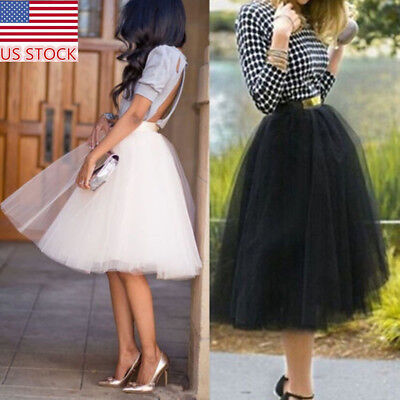 US Women MultiLayer Tulle Skirt Princess Ballet Tutu Dance Prom Party Long Dress
