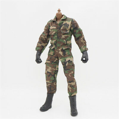1/6 Scale Uniforms Coveralls Suit Woodland camo Jumpsuit for Hot Toys B005 Body