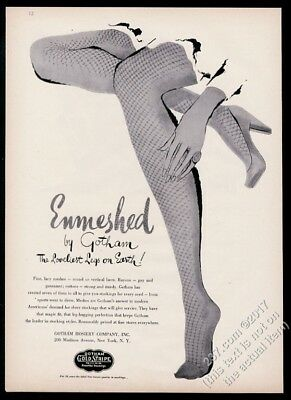 1943 fishnet stockings woman's legs art Gotham Hosiery vintage print ad
